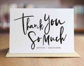 Personalized Thank You Note Card Set /  Calligraphy Thank You Cards / Set of 10 Folded Shimmer Note Cards - T300