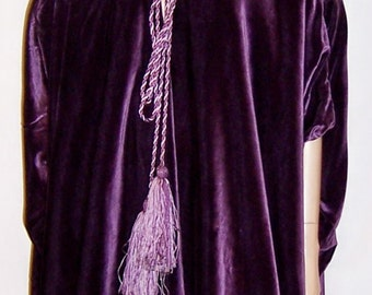 Liberty & Co. Reversible Purple Velvet and Silk Damask Burnous