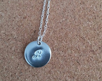 Letter B Necklace  Letter B Pendant Letter B Jewelry Round Silver Pendant Disc Silver Necklace Sterling Silver Initial Thank you gift