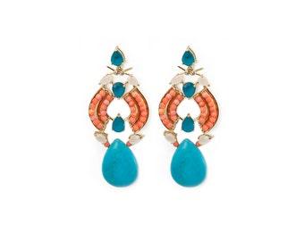 Maya Drops - Statement Earrings - Gold Statement Earrings - Gold Earrings - Long Earrings