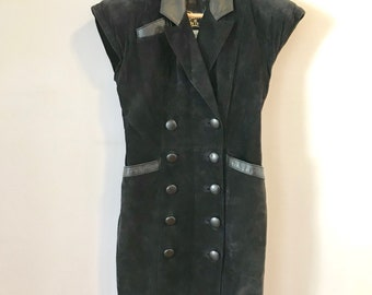 Black Suede Double Breated Dress