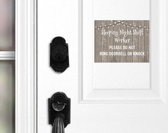 No Soliciting Night Shift Worker Sleeping Front Door Magnet, Night Shift Worker Sign, Do Not Knock, Do Not Ring Doorbell, Shift Worker, 049