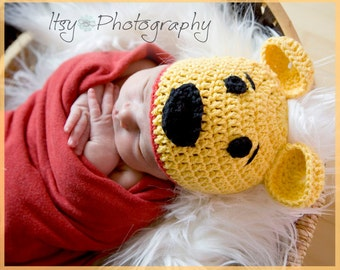 Honey Bear Crocheted Cotton Hat - Great Photo Prop