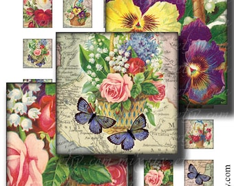 butterflies and flowers 1 x 1 inch square images Printable Download Digital Collage Sheet diy jewelry pendant sticker inchies