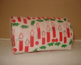 Christmas Tissue Paper, Candles, Red and Green, Holly, Holiday Bathroom Decor, Decorated Retro Toilet Paper, Kitschy, Novelty  (470-10)
