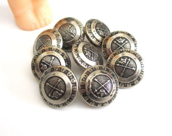 """9 Vintage Silver Tone Metal Arrow & Crown Domed Buttons - Small Replacement Sleeve Button Set for Mens Jackets, Suits or Blazer Coats 9/16"""""""