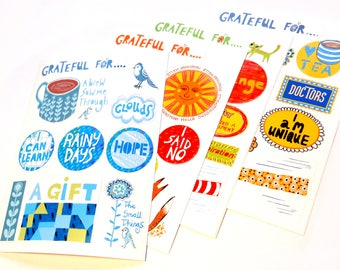 Set of 4 gratitude journal stickers to decorate and personalize your journal.