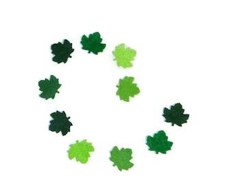 Felt leaves, green leaves, green felt leaves, diy crafts, green, green maple leaf, leaf, maple leaf, small leaf, 1 inch leaves, crafts