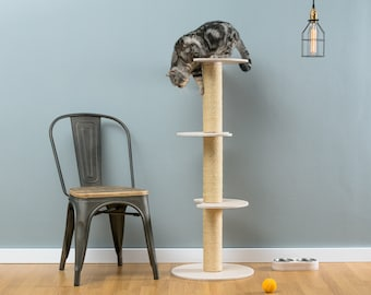 Sisal cat tree Ozzy White | WORLDWIDE SHIPPING | Modern Cat Furniture | Climb Tree | Shelf | Toy | Bed | House | Tower
