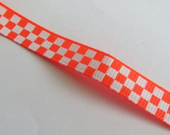 Pretty Ribbon, orange white checkerboard pattern