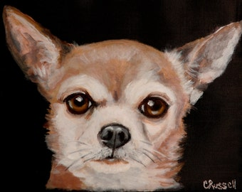 Lunch Bag - Hand Painted 'Ziggy' a Chihuahua on Black Nylon Insulated Lunch Bag