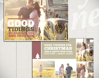 Christmas Card Template: Good Tidings C - 5x7 Holiday Card Template for Photographers