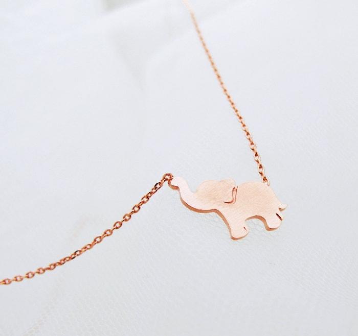Rose gold elephant necklace elephant jewelry zoom aloadofball Gallery