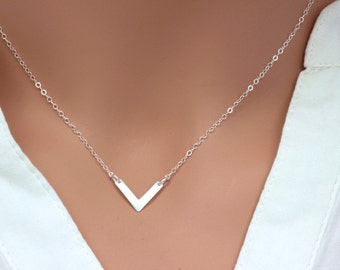 Sterling Silver V Necklace, Chevron Layering Necklace, Simple V shape Necklace, Simple Silver Necklace. Dimensional Chevron Necklace