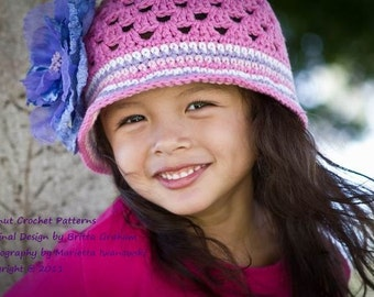 Summer Crochet Hat Pattern -  No.116 FOUR Sizes Baby Toddler Kids Girls English