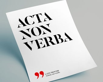 Acta, non verba – Actions, not words, Latin printable quotes, Latin phrases proverbs, Printable wall art, INSTANT DOWNLOAD