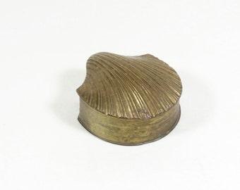 Brass Clam Box - Brass Scallop Box - Brass Shell Seashell - Shell Box - Vintage Brass -Brass Box - Brass Trinket Box