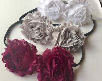 Stretch blossom headband set for women and girls. Three sale shabby chiffon blossoms on skinny bands. TutusChic Originals.  Sale 3 for 18.