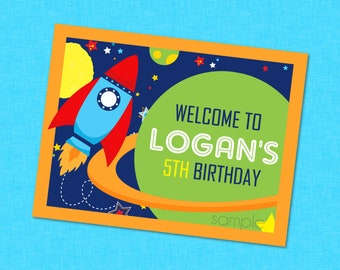 Outer Space Birthday Party Sign - Space Birthday Sign , Space Party Sign , Space Welcome Sign , Rocket Welcome Sign , Space Decorations