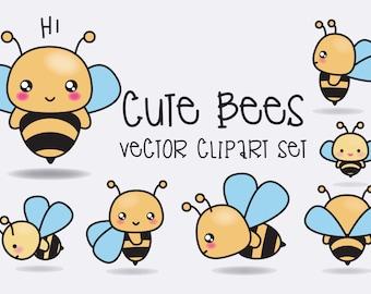 Premium Vector Clipart - Kawaii Bees - Cute Bees Clipart Set - High Quality Vectors - Instant Download - Kawaii Clipart