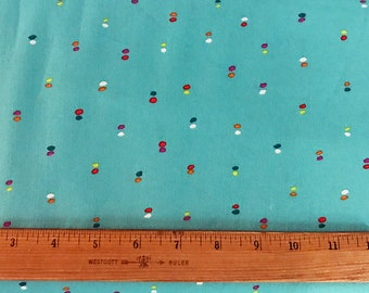 Teal Blue Dot Print Woven Cotton Fabric by the Yard, Double Dot by Michael Miller Dress Fabric, Quilting, Textile