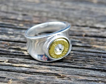9mm Silver Bullet Ring – Womans Bullet Ring in Sterling Silver with Swarovski Birthstone Crystal