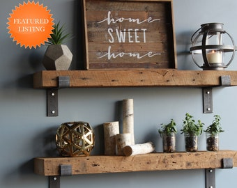Reclaimed Wood Shelves | Amish Handcrafted in Lancaster County, PA | Set of 2 | Industrial, Rustic, Genuine Barn Wood with Brackets
