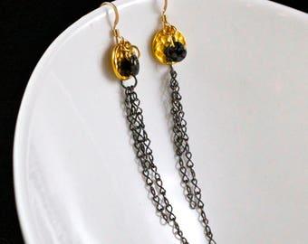 Nightfall Earrings (E830) - Gold-filled, Gunmetal & Pressed Glass