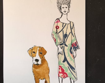 Girl with Caftan and Brown Dog Illustration Ink Drawing with Watercolor