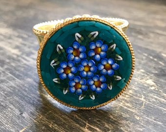 Napkin Ring with Colorful Micro Mosaic Floral Vintage Brooch