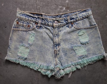 1980's vintage Levis cutoffs, size 30-31 overdyed and nicely worn