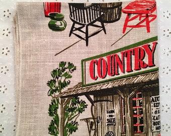 Heavy Linen Towel - Vintage Linen Towel - WildCat Country Store - 1963 - Country Collectible Towel - Kitchen Towel - Vintage Linen