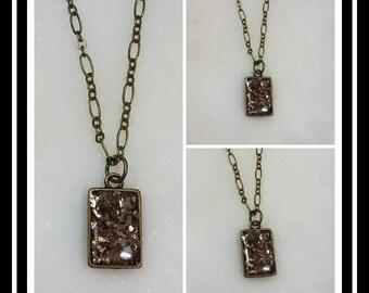 Bronze Memorial Ash Pendant Necklace /Ash Necklace /Cremation Necklace / Cremation Jewelry/ Pet Memorial Ash Jewelry/99+ Colors/Double Sided