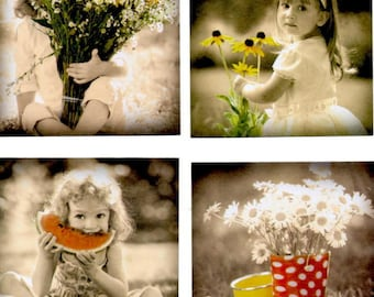 83 - Set of 4 images for cards or scrap girl