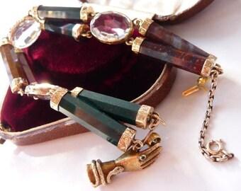 Victorian Scottish gold mounted agate bracelet | 14K Victorian hand clasp | Scottish rock crystal 9K | large size | antique 1860 | very rare