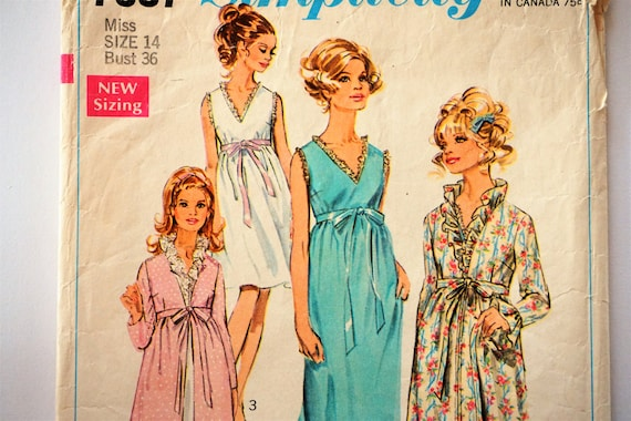 1960s Nightgown robe pattern, vintage sewing pattern, sleeveless ...