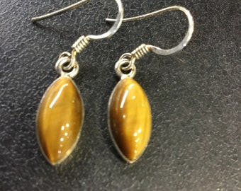 Silver tigers eye drop earrings