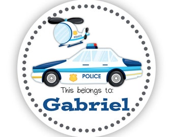 Name Label Stickers - Police Car, Police Chopper, Police Personalized Name Tag Sticker Labels, This Belongs To - Back to School Name Labels
