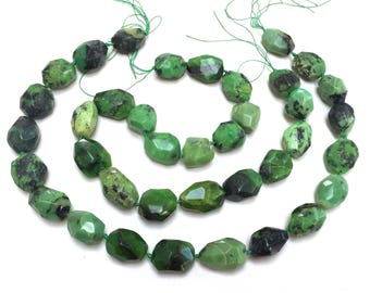 """African Chrysoprase faceted beads natural green gemstone nuggets 16"""" strand"""