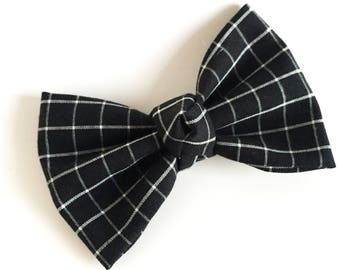 Fabric Bow, Baby Headband, Black Bow, Black with White Grid Lines, Bow Headband