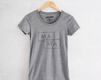 Ma-Ma Double Rectangle - Tri-Blend Women's Fitted Crew Neck Shirt