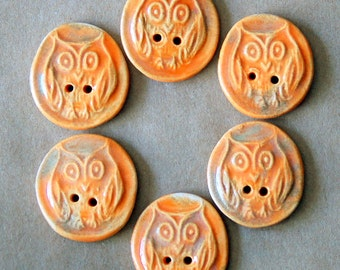 6 Handmade Ceramic Buttons - Owl Buttons in Autumn Orange - Rustic Stoneware Buttons by Beadfreaky - Knitting Supplies - Focal Button