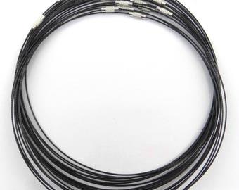 25 necklaces 45 cm neck rigid metal black clasp cro020