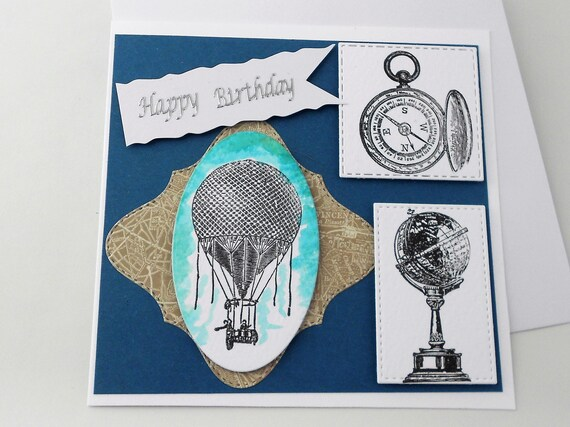 Hot air balloon card happy birthday card traveller birthday bookmarktalkfo Image collections