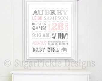 Custom baby gift, name art, Baby Girl Nursery Wall Art, Personalized Birth Details, Baby Wall Art, Girl Nursery Decor, baby shower gift