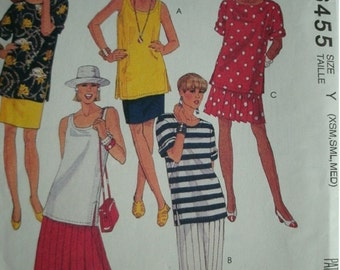 Misses Tops and Skirts Sizes 4-6-8-10-12-14 McCalls EASY Pattern 6455 Petite-Able Excellent Condition UNCUT Pattern Dated 1993