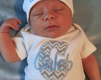 Baby Boy COMING HOME Outfit Take Home Outfit Monogram Newborn Boy outfit baby shower gift Newborn baby outfit Personalized Baby Hat Beanie