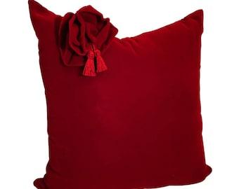 Red Velvet Pillow Cover, Red Flower Pillow, Red Velvet Pillow, Velvet  Pillow 20x20, Pillow Covers, Velvet Bow Pillow