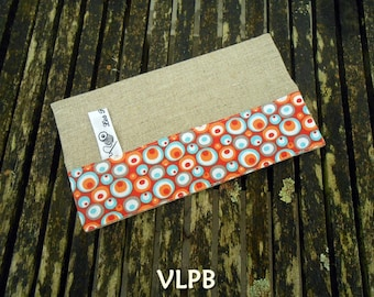 Linen and grey and orange cotton  fabric Checkbook Cover