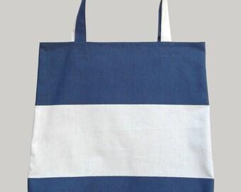 Tote Bag/ Large Hand Bag/ Shoulder Bag/ Stripes Navy and White